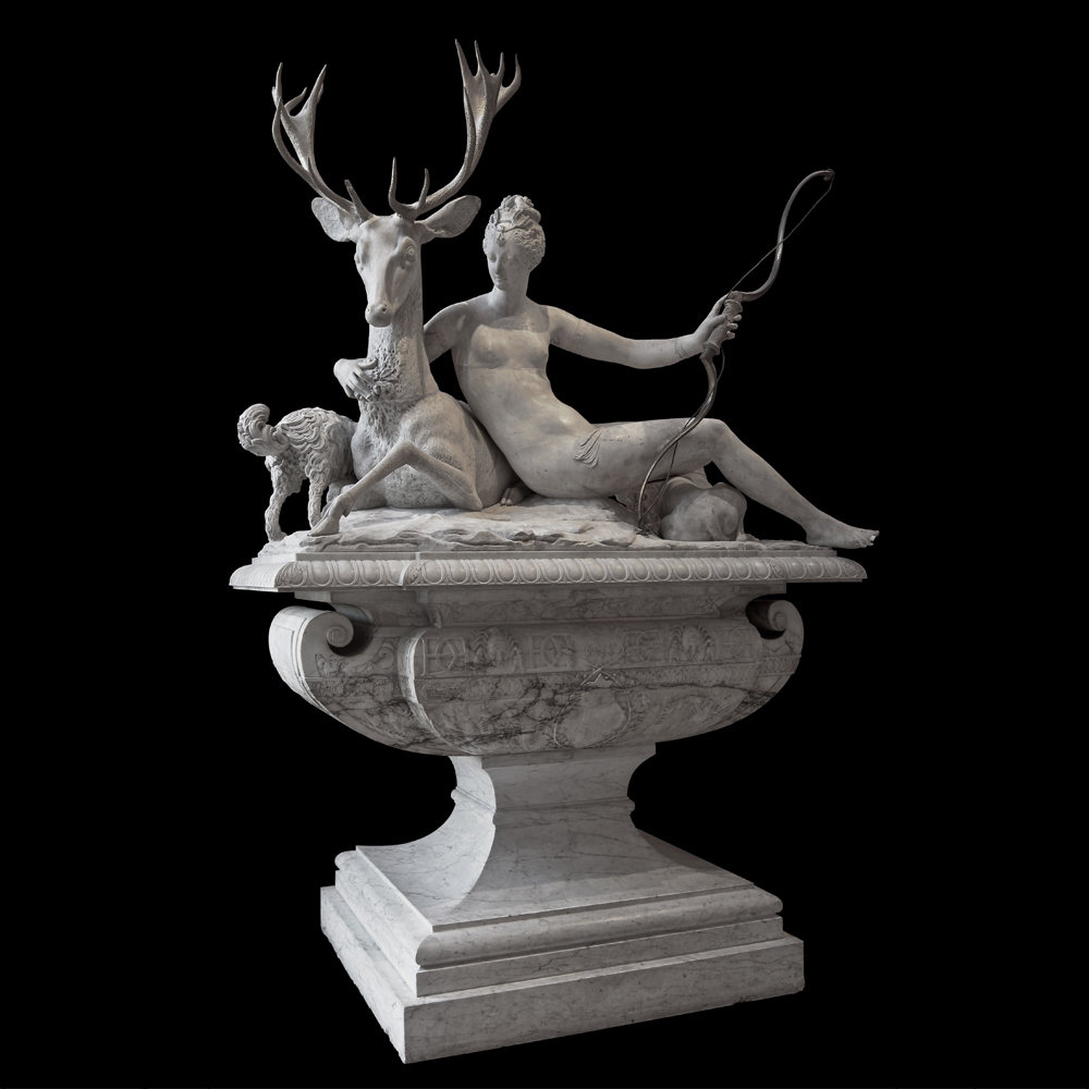 Marble Stone Nude Woman and Deer Statue