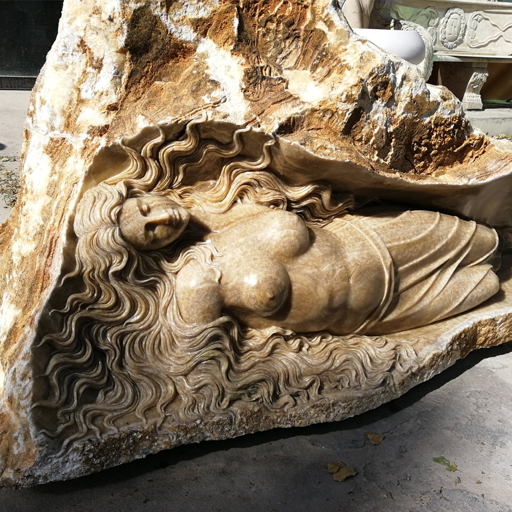 Life Size Lady Lying in Stone Marble Statue