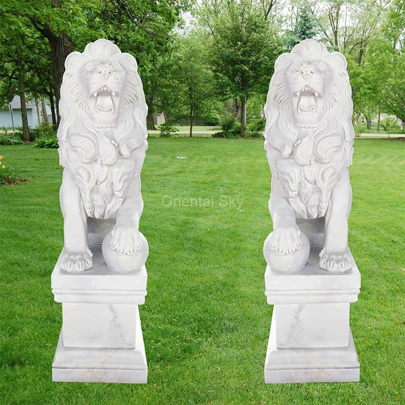 Life Size Marble Stone Lion Statues Pair