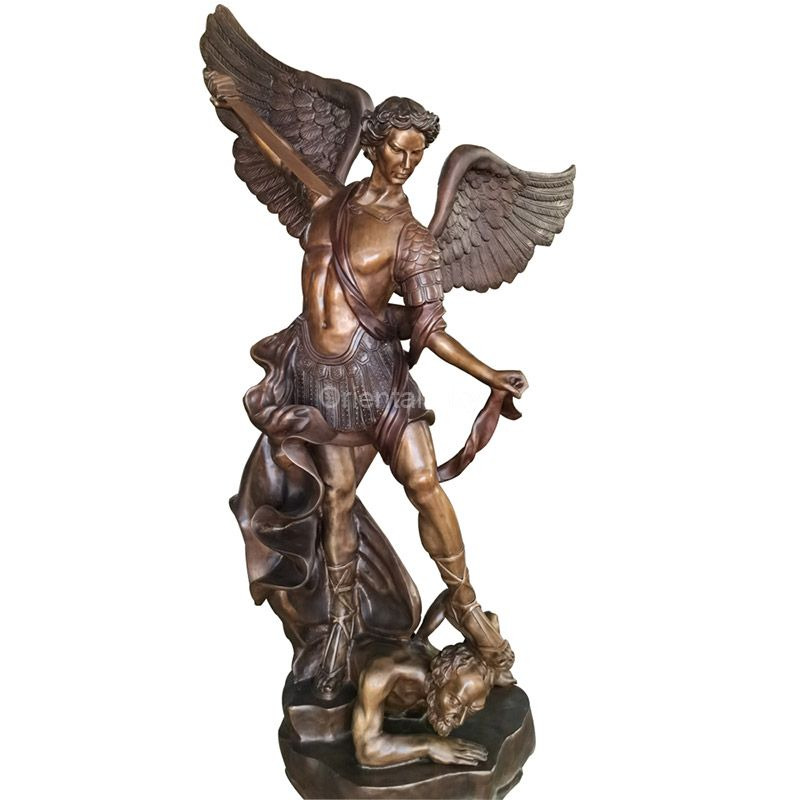 Large Bronze Saint Michael Angel Statue