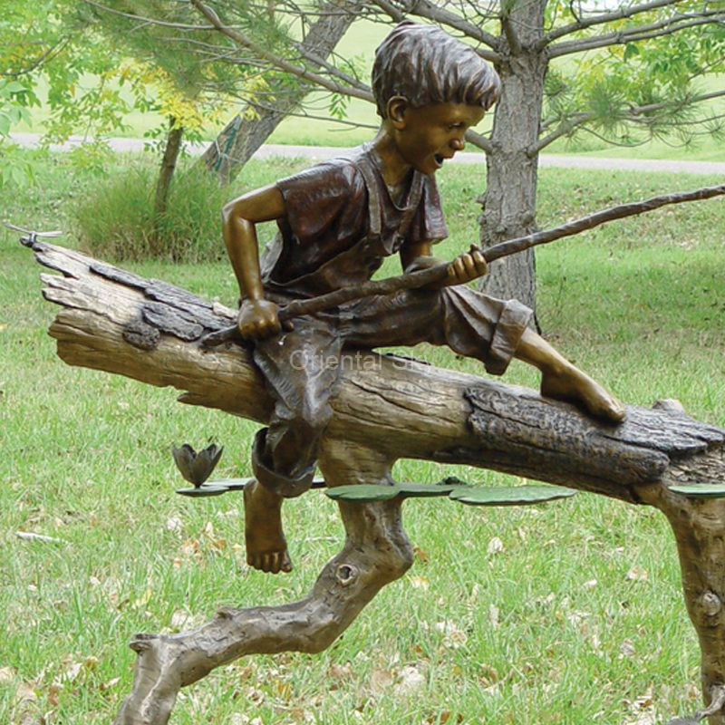 Life Size Bronze Boy Fishing Statue Metal Outdoor Sculpture