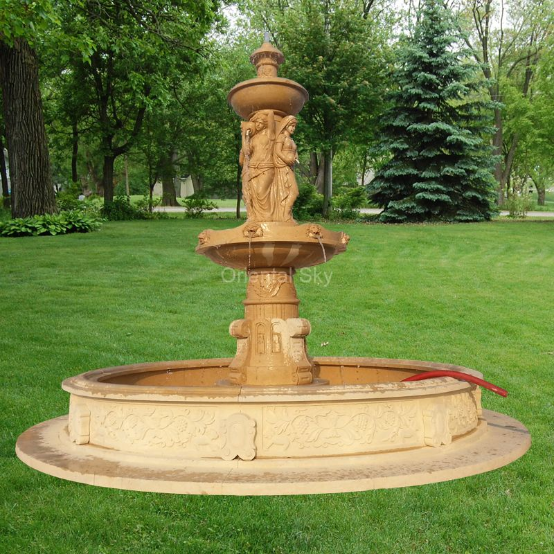 Marble Stone Water Fountain with Lady Statues