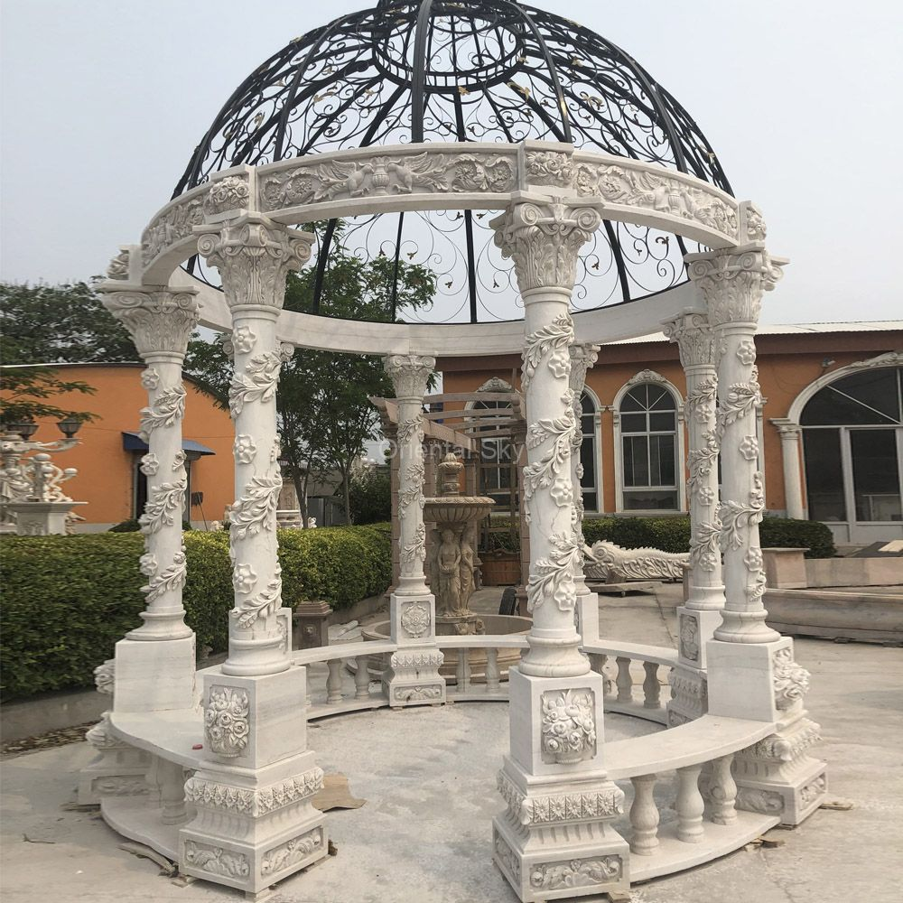 Large Garden Marble Stone Gazebo with Steel Roof