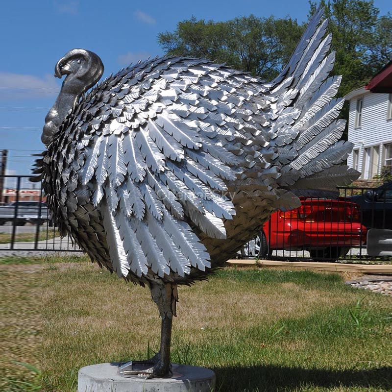 Large Fine Polish Stainless Steel Turkey Sculpture