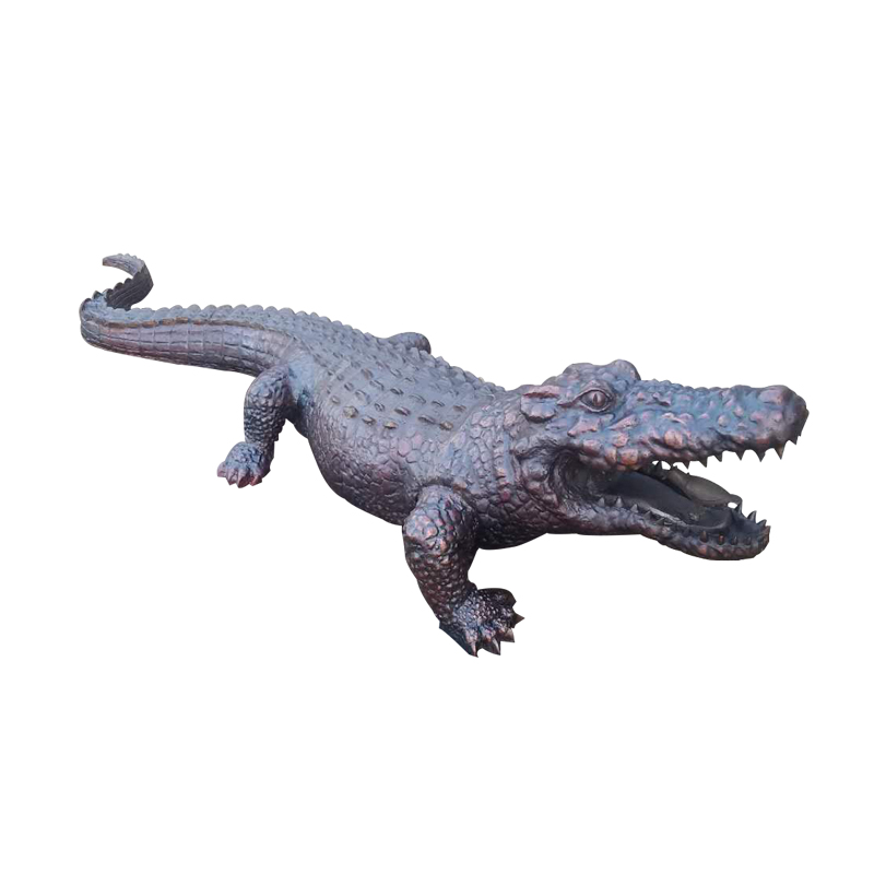 Life Size Bronze Crocodile Sculpture