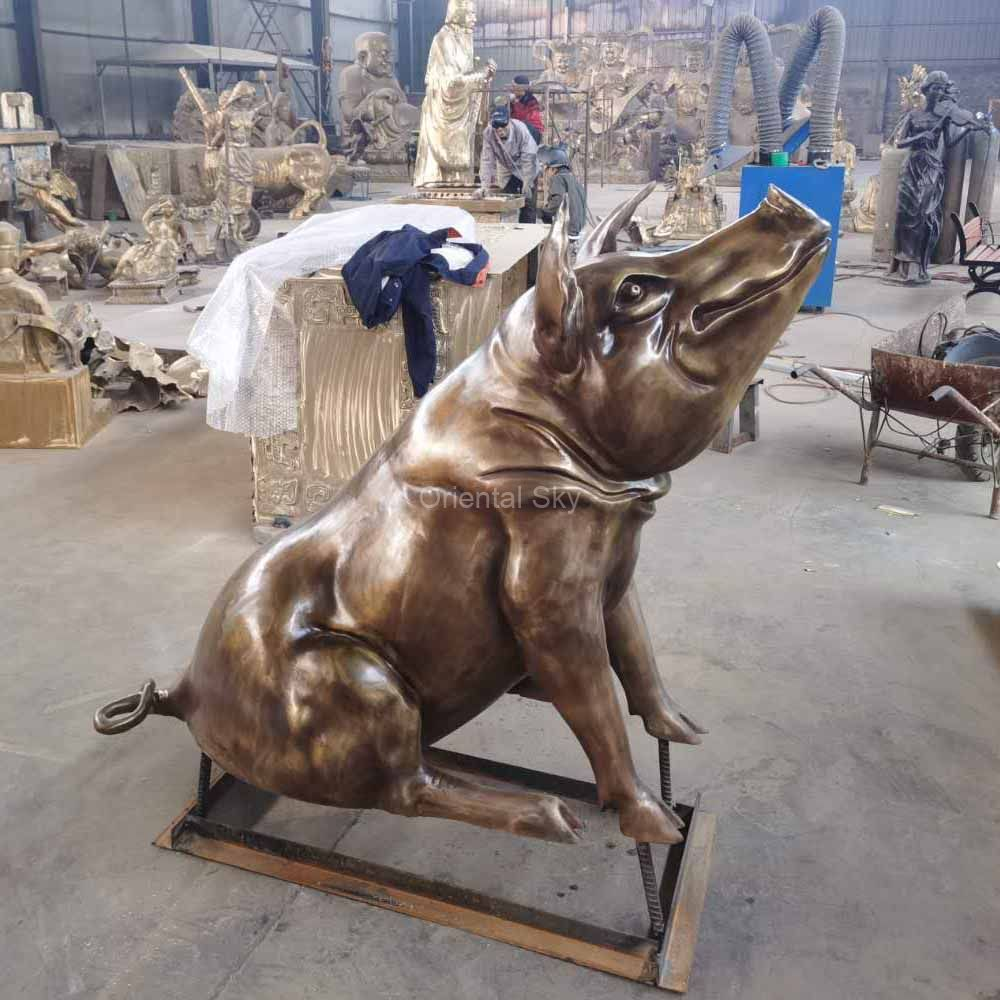 Life Size Bronze Pig Statue