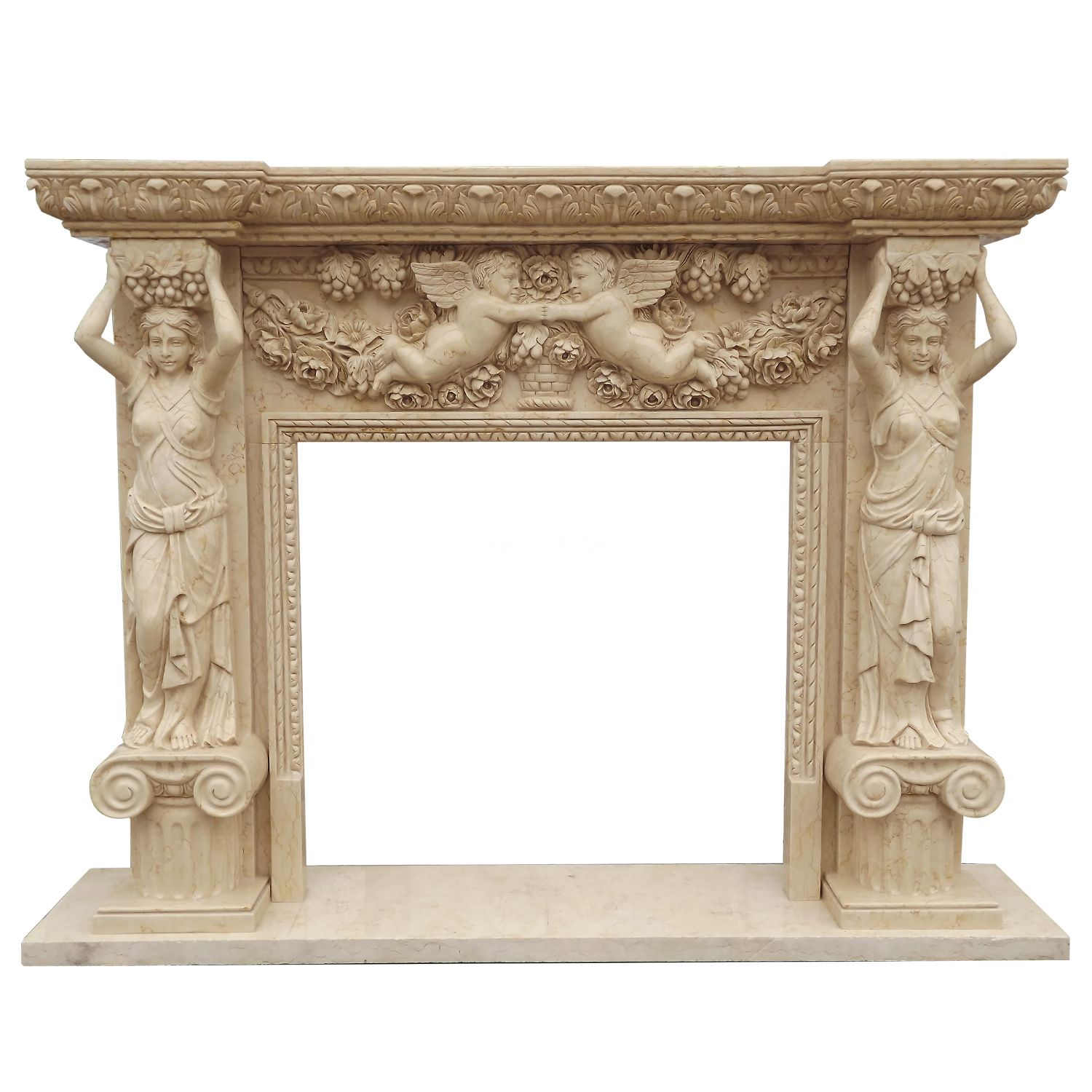 Marble Stone Fireplace Mantel with Woman Statues