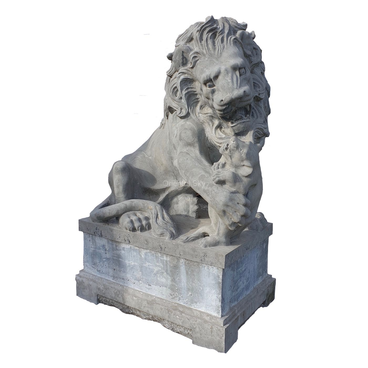 Life Size Grey Marble Stone Lion Statue Pair