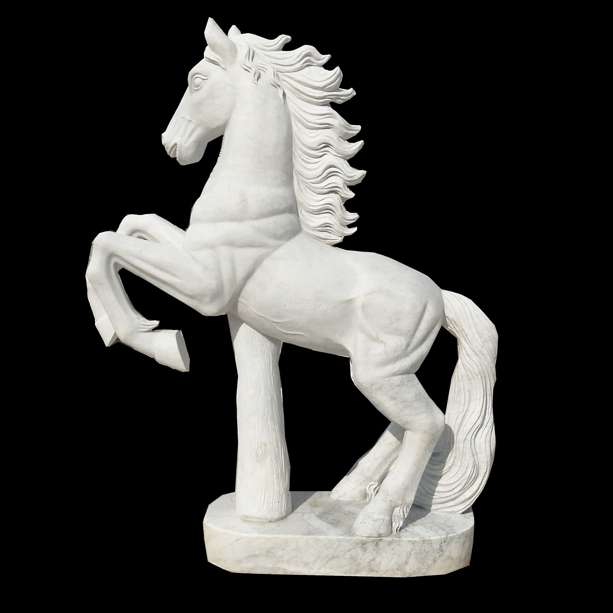 Life Size White Marble Stone Jumping Horse Statue