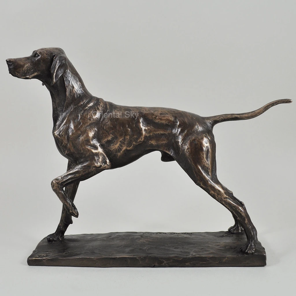 Life Size Bronze Pointer Dog Statue Metal Animal Sculpture